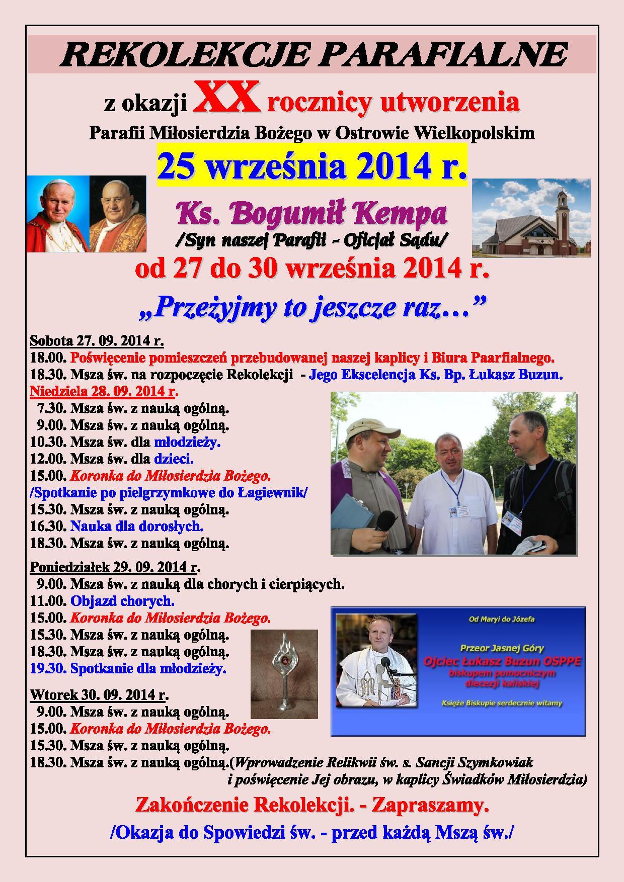 Rekolekcje Parafialne z okazji 20 rocznicy parafii PDF